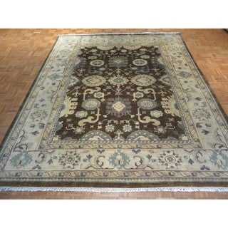 Oriental Brown Wool Oushak Hand-knotted Rug - 8'2 x 9'10