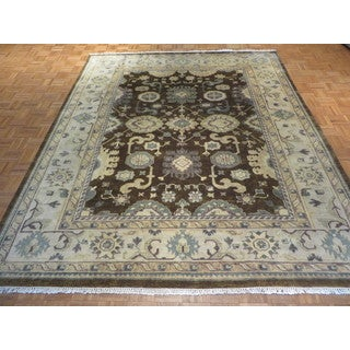 Oriental Brown Wool Oushak Hand-knotted Rug (8'2 x 9'10)