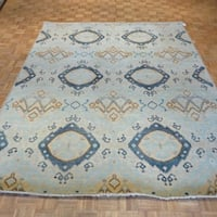 Ikat Oriental Soft Blue Wool Hand-knotted Rug - 8' x 10'