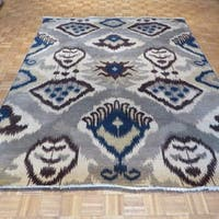 Hand-knotted Oriental Gray Wool Ikat Rug (8' x 10'7)