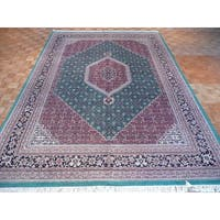 Bijar Oriental Tan/Green/Pink/Navy/Beige Wool Hand-knotted Rug - 9'6 x 13'9