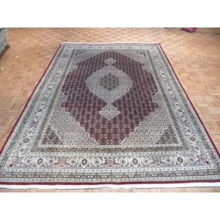 Mahi Tabriz Oriental Hand-knotted Red Wool/Silk Rug (8'1 x 11'8)
