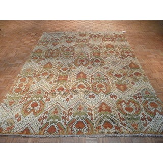 Ikat Beige/Multicolor Hand-knotted Wool Oriental Rug (8'9 x 12)