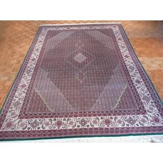 Green Wool/Silk Oriental Hand-knotted Mahi Tabriz Rug (10 x 14)