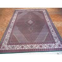 Green Wool/Silk Oriental Hand-knotted Mahi Tabriz Rug - 10 x 14