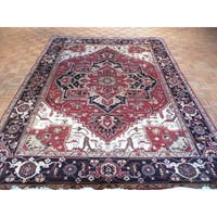Serapi Heriz Oriental Hand-knotted Rust Red Wool Rug - 8'11 x 11'11