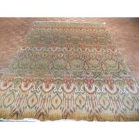 Ikat Oriental Sage/Gold/Beige/Orange Wool Hand-knotted Rug (8'8 x 11'8) - 8'8 x 11'8