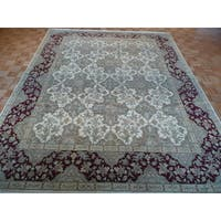 Oriental Beige Wool Agra Hand-knotted Rug - 9' x 11'7