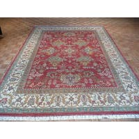 Oriental Red Agra with Wool Hand-knotted Rug - 8'11 x 11'11