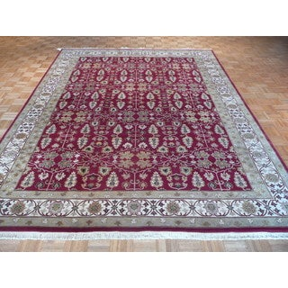 Agra Burgundy Wool Hand-knotted Oriental Rug (8'11 x 11'6)