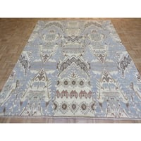 Oriental Sky Blue Ikat with Wool Hand-knotted Rug (8 x 10'3)
