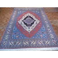 Pink Wool Hand-knotted Serapi Oriental Rug (8'10 x 11'9) - 8'10 x 11'9