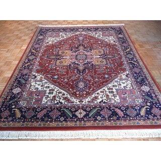 Hand-knotted Oriental Deep Rust Wool Heriz Rug (8' x 10')