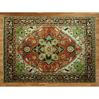 Serapi Heriz Brick Red/Multicolor Wool Hand-knotted Oriental Rug - 8'10 x 12'5