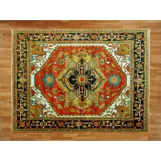 Oriental Brick Red/Ivory/Blue/Tan/Green/Gold Wool Serapi Heriz Hand-knotted Rug (8'9 x 11'9)
