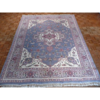 Oriental Light Blue Wool Serapi Hand-knotted Rug (7'11 x 9'11)