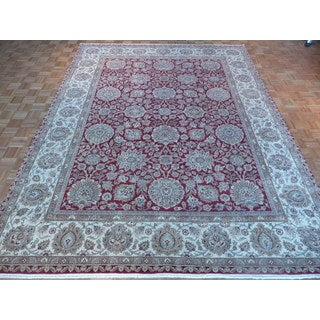 Oriental Red Wool Agra Hand-knotted Rug (9'1 x 12'1)