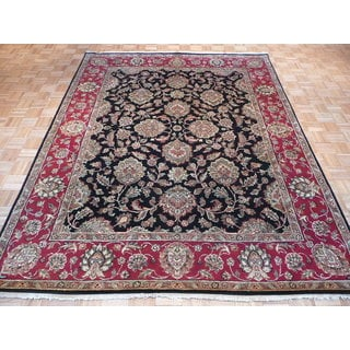 Agra Black/Multicolor Wool Hand-knotted Oriental Rug (7'10 x 10'1)