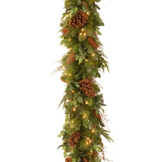 Decorative Collection 6-foot Juniper Mix Pine Garland with Clear Lights