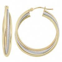 Fremada Italian 14k Two-tone Gold Interlocking Triple Hoop Earrings