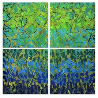 Lynne Taetzsch 'Blue Patterns II' Metal Art