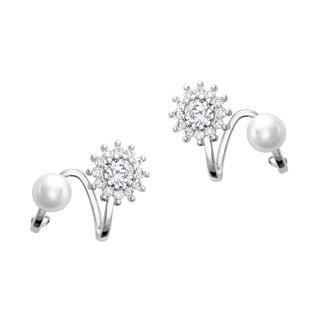 Sterling Silver 6-millimeter Freshwater Pearl CZ Earrings