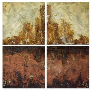 Roger Silva 'City in Conflict' Metal Wall Art