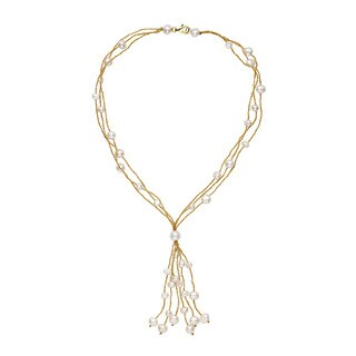 Yellow Gold Over Silver and White Pearl Tassle Necklace