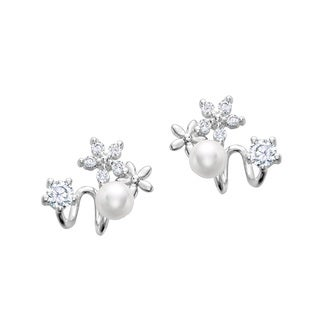 Sterling Silver Freshwater Pearl Cubic Zirconia Butterfly Earrings