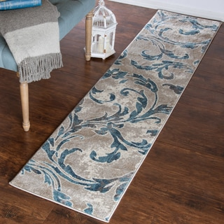 "Windsor Home Vintage Leaves Rug - Ivory Blue - 1'8"" x 7'"