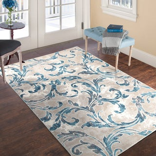 Windsor Home Vintage Leaves Rug - Ivory Blue - 5' x 7'7""