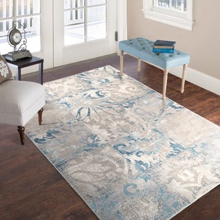 Windsor Home Vintage Patchwork Rug - Beige Blue - 5' x 7'7""