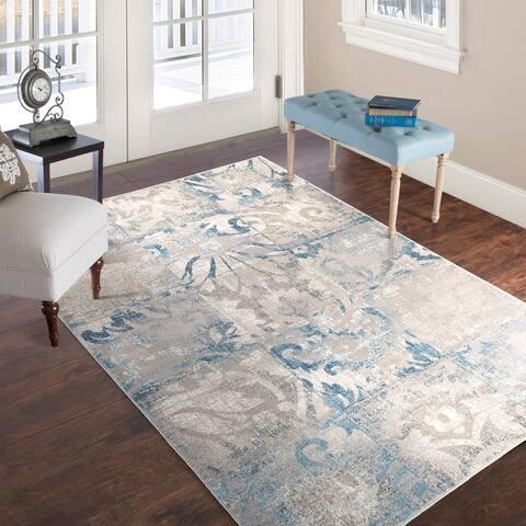 """Windsor Home Vintage Patchwork Rug - Beige Blue - 5' x 7'7"""" - 5' x 7'7"""""""