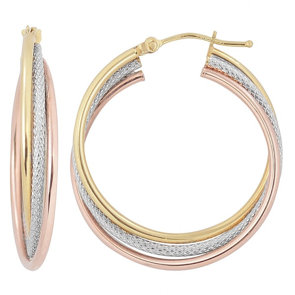 Fremada Italian 14k Tri Color Gold Interlocking Triple Hoop Earrings