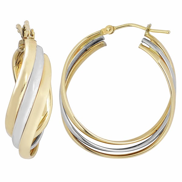 14k Two-tone Gold High Polish Overlapping Triple Hoop Earrings