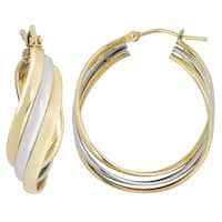 Fremada Italian 14k Two-tone Gold High Polish Overlapping Triple Hoop Earrings