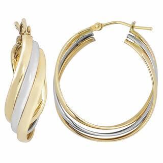 14k Two Tone Gold High Polish Overling Triple Hoop Earrings