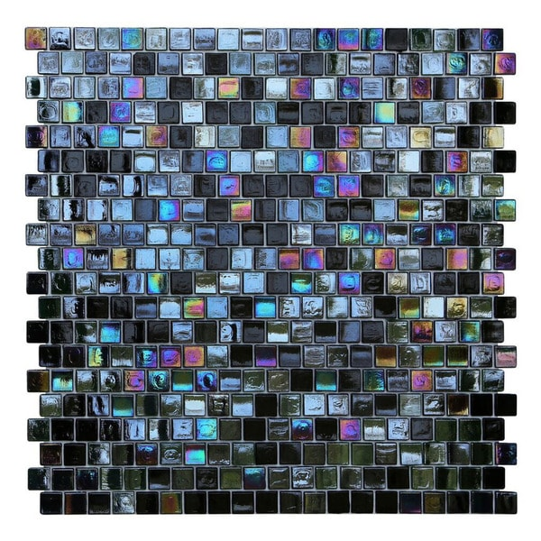 Kitchen Wall Tiles Types: Shop Opal Black Glass Mosaic Wall Tiles (Pack Of 10