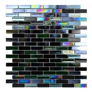 Opal Glossy Black Glass Mosaic Tile (Pack of 10)