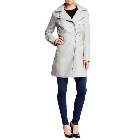 BCBGeneration Women's Grey Blend Mixed Media Coat