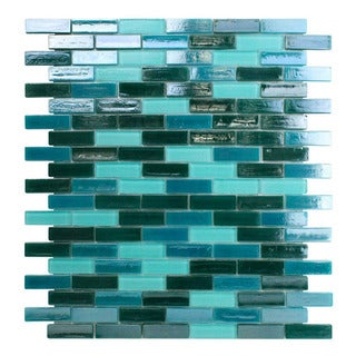 Opal Blue Glass Glossy Mosaic Tiles (Pack of 10)