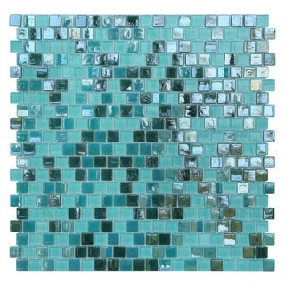 Opal Blue and Green Glass Mosaic Tiles