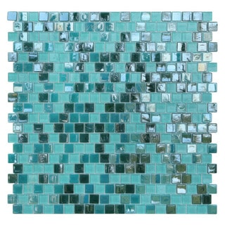 Opal Blue and Green Glass Mosaic Tiles (Pack of 10)