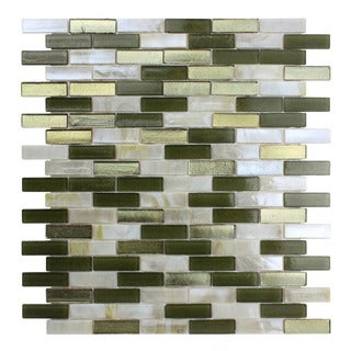 Opal White/Green Glass Mosaic Tile (Pack of 10)