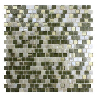 Opal White and Jade Green Glass Mosaic Tiles (Pack of 10)