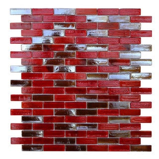 Opal Red Glass Mosaic Tile (Pack of 10)