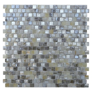 Opal Silver/ Pearl White Glass Mosaic Tile (Pack of 10)