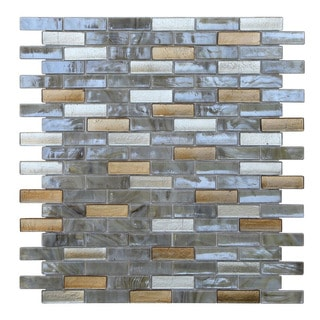 Opal Gold, Silver, and Off-white Glass Glossy Mosaic Tiles (Pack of 10)