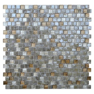 Opal Abalone Offset Square Glass Mosaic Tile (Pack of 10)