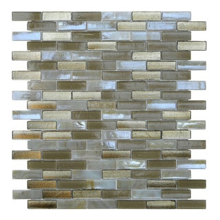 Opal Mosaic Metallic Beige Glass Wall Tiles (Pack of 10)